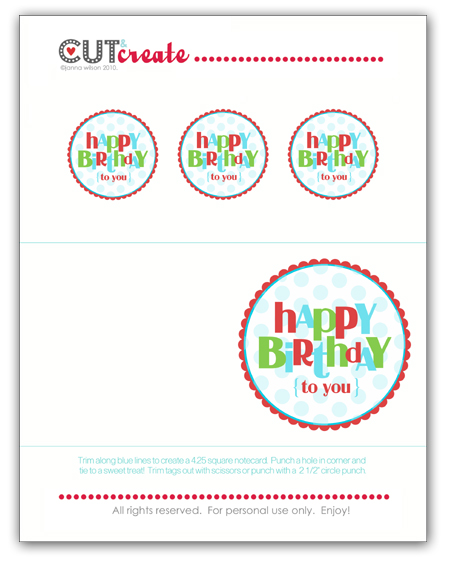 image relating to Happy Birthday Tag Printable titled Janna Wilson: No cost For All Fridaymore printable birthday