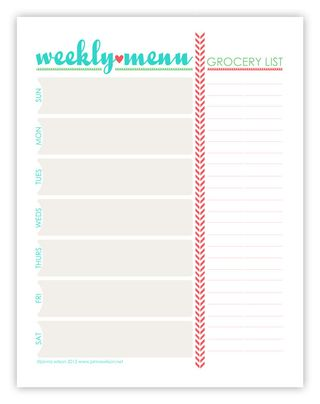 graphic relating to Menu Printable titled Janna Wilson: Totally free Printable: Weekly Menu