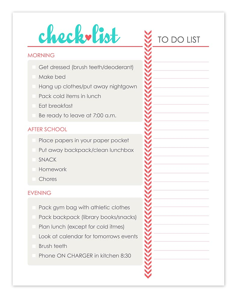 Daily check list