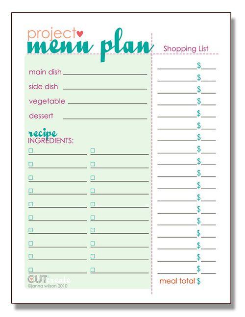 Printable Menu Plan